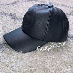 Fashion Nova Leather Like Cap Hat OS Black